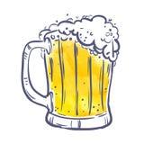 Jarro de Toby amarelo com cerveja no fundo branco símbolo, elemento do projeto, bandeira Ilustração do vetor Foto de Stock