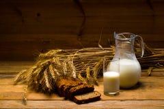 Jarro de vidro com leite, caneca com leite, um naco do pão de centeio, orelhas Fotografia de Stock