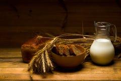 Jarro de vidro com leite, caneca com leite, um naco do pão de centeio, orelhas Foto de Stock