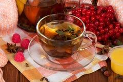 Jarro e copo do suco de fruta quente em um guardanapo, do punhado do viburnum e do mel, na tabela foto de stock