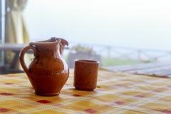 Jarro e vidro do vintage Fotografia de Stock