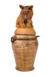 Jarro eslavo do produto de cerâmica do vintage antigo, ornam do nacional do calendário Fotos de Stock