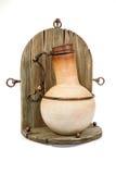 Jarro eslavo do produto de cerâmica do vintage antigo, ornam do nacional do calendário Fotografia de Stock