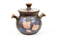 Jarro eslavo do produto de cerâmica do vintage antigo, ornam do nacional do calendário Imagem de Stock
