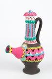 Jarro handcrafted colorido adornado de la cerámica Foto de archivo