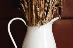 Jarro rústico velho e branco com centeio seco na frente da parede marrom fotografia de stock royalty free