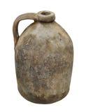 Jarro viejo de la cerámica de la arcilla aislado Imagenes de archivo