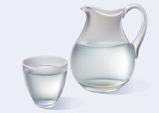 Jarro y vidrio con agua Fotografía de archivo libre de regalías