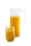 Jarro y vidrio del zumo de naranja Imagenes de archivo