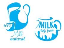 Jarros con leche natural Fotografía de archivo libre de regalías