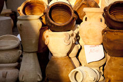 Jarros e frascos da argila Foto de Stock