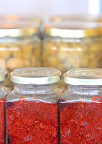 The jars. With olives and paprika Stock Photo