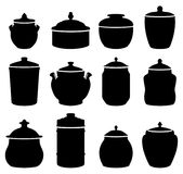 Jars. Twelve jars black and white silhouettes Royalty Free Stock Photo