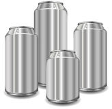 Jars. Little aluminum jars for drinks of different size, vector illustration Royalty Free Stock Photo