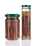Jars of anchovy fillets. Royalty Free Stock Image