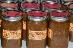 Jars of Apple Butter. 32nd Brethren Heritage Celebration, Fincastle, VA – October 1st: Jars of fresh made apple butter at the Heritage Day festival at royalty free stock image