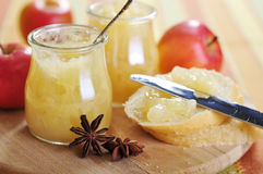 Jars of apple jam Royalty Free Stock Photos