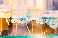 Jars of apricot dessert. Stock Photo