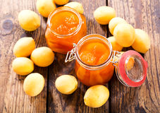 Jars of apricot jam Stock Images