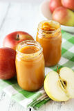 Jars of baby puree Royalty Free Stock Images