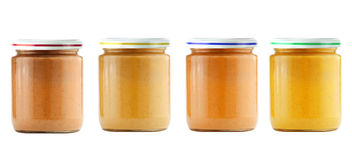 Jars of baby puree isolated on white Stock Image