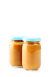 Jars of baby puree Royalty Free Stock Image