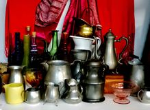 Jars and bottles. Antique pewter jars and bottles Royalty Free Stock Images