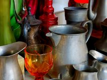 Jars and bottles. Antique pewter jars and a tablet Stock Image