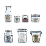 Jars, bottles of spices hand drawn art  illustration Stock Photos