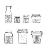 Jars, bottles of spices hand drawn line art cute illustration Royalty Free Stock Image