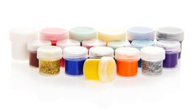 Jars with the bright paints Royalty Free Stock Photography