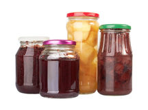 Jars with canned fruits Royalty Free Stock Images
