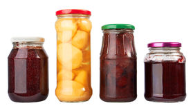 Jars with canned fruits Royalty Free Stock Image