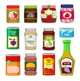 Jars with canned fruits and others different goods. Vector pictures in flat style. Food canned and jar with frui jam illustration vector illustration
