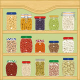 Jars of cereals and legumes Royalty Free Stock Images