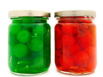 Jars with cherry Stock Photo