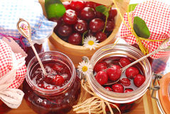 Jars of cherry preserves Royalty Free Stock Image