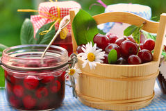 Jars of cherry preserves in the garden Stock Image