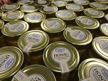 Jars of Christians Grod honey. Berlin, Germany - February 3, 2018: Jars of Christians Grod Honig, German for honey Stock Photography