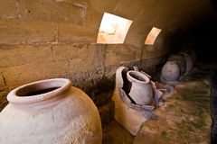 Jars of clay to preserve foods in the cellar Stock Images