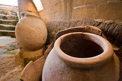 Jars of clay to preserve foods in the cellar Royalty Free Stock Photo