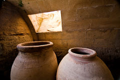 Jars of clay to preserve foods in the cellar Royalty Free Stock Photography