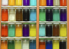 Jars of Colored Dyes Royalty Free Stock Images