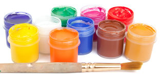 Jars with colored gouache Stock Photography