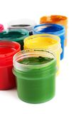 Jars with colored gouache Royalty Free Stock Photo