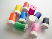 Jars of colored paint, artistic mess Stock Photography