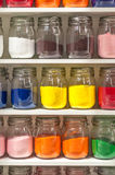 Jars of Colored Sand Stock Photography