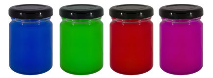 Jars of colorful jam Royalty Free Stock Image