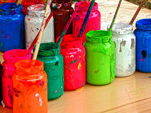 Jars with colors Royalty Free Stock Photo