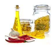 Jars of coloured pasta Stock Image